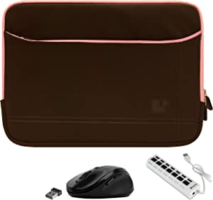 Shock Absorbing Brown Pink Laptop Sleeve, USB Hub, Mouse for 14 inch HP ProBook x360 440 G1, Pavilion x360 14t