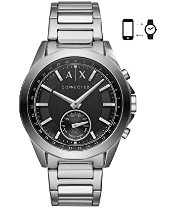 1f49a4b78 Amazon.com: Armani Exchange Men's Hybrid Smartwatch, Stainless Steel, 44  mm, AXT1006: Watches