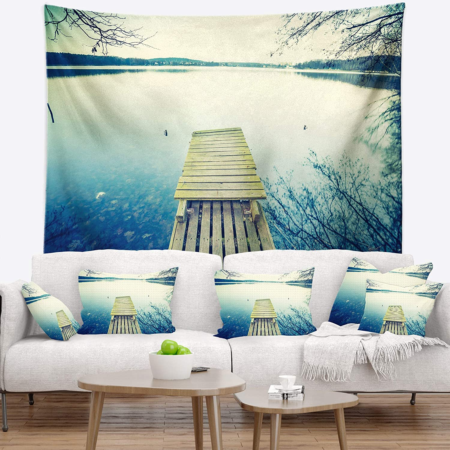 Medium: 39 in Created On Lightweight Polyester Fabric Designart TAP14870-39-32 Sunset Over Tranquil Lake Bridge Blanket D/écor Art for Home and Office Wall Tapestry x 32 in