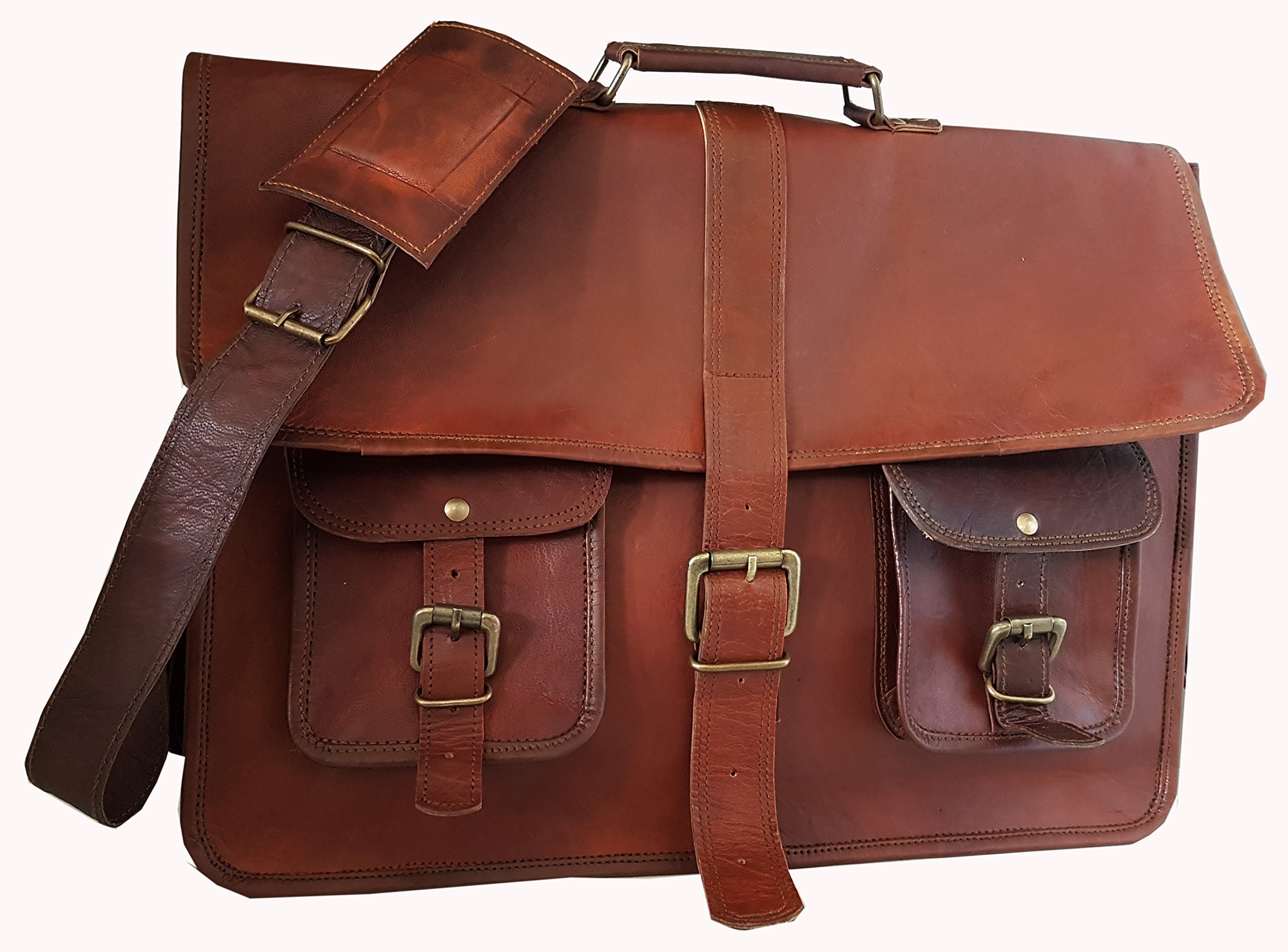 HLC 18'' Inches Classic Adult Unisex Cross Shoulder Leather Messenger Laptop Briefcase Bag Satchel Brown