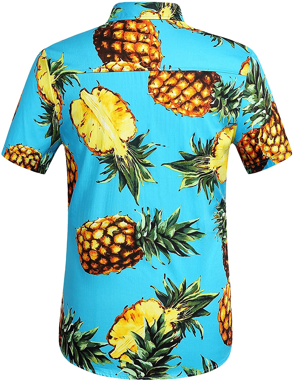 SSLR Mens Pineapple Casual Button Down Short Sleeve Hawaiian Shirt