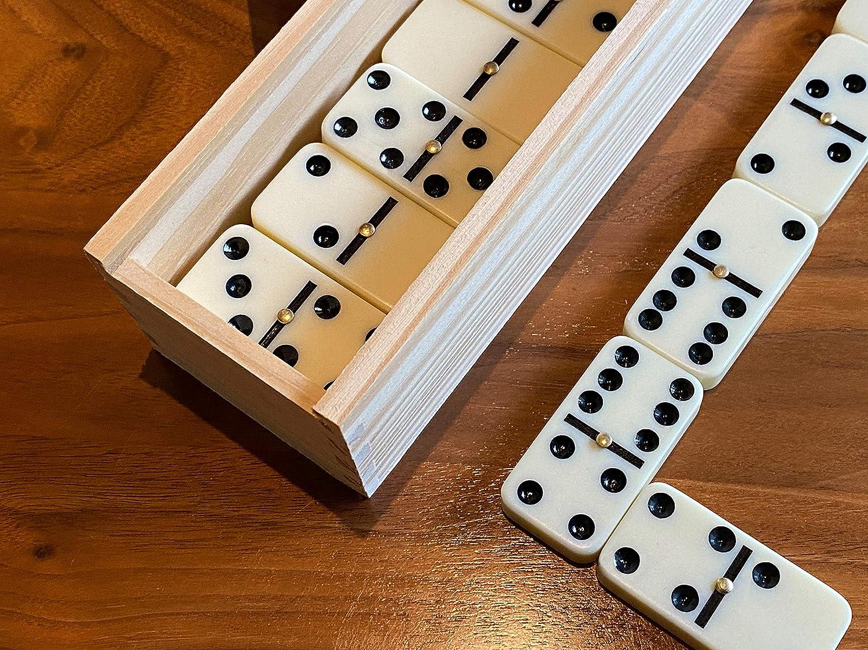 scarlet play Domino Club Dominosteine Double Six 6 Holzkiste Legespiel 28 Steine