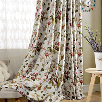 Flower Curtain Blackout Bedroom Drapes   Anady Top 2 Panel Bird Curtains  Design Drapes For Living