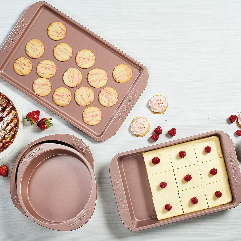 Farberware 47777 Nonstick Bakeware Set with Nonstick Baking Pan, Cake Pans and Cookie Sheet / Baking Sheet - 4 Piece, Rose Gold Red