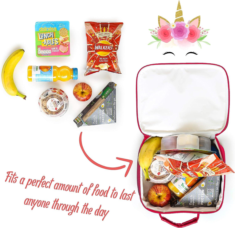 Cute Insulated Lunch Box for Girls with Unicorns and Emoji for Nursery KreativeKraft Unicorn Lunch Bag School Or Travel