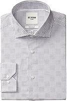 Ben Sherman Men's Slim Fit Dobby Windowpane Spread Collar Dress Shirt