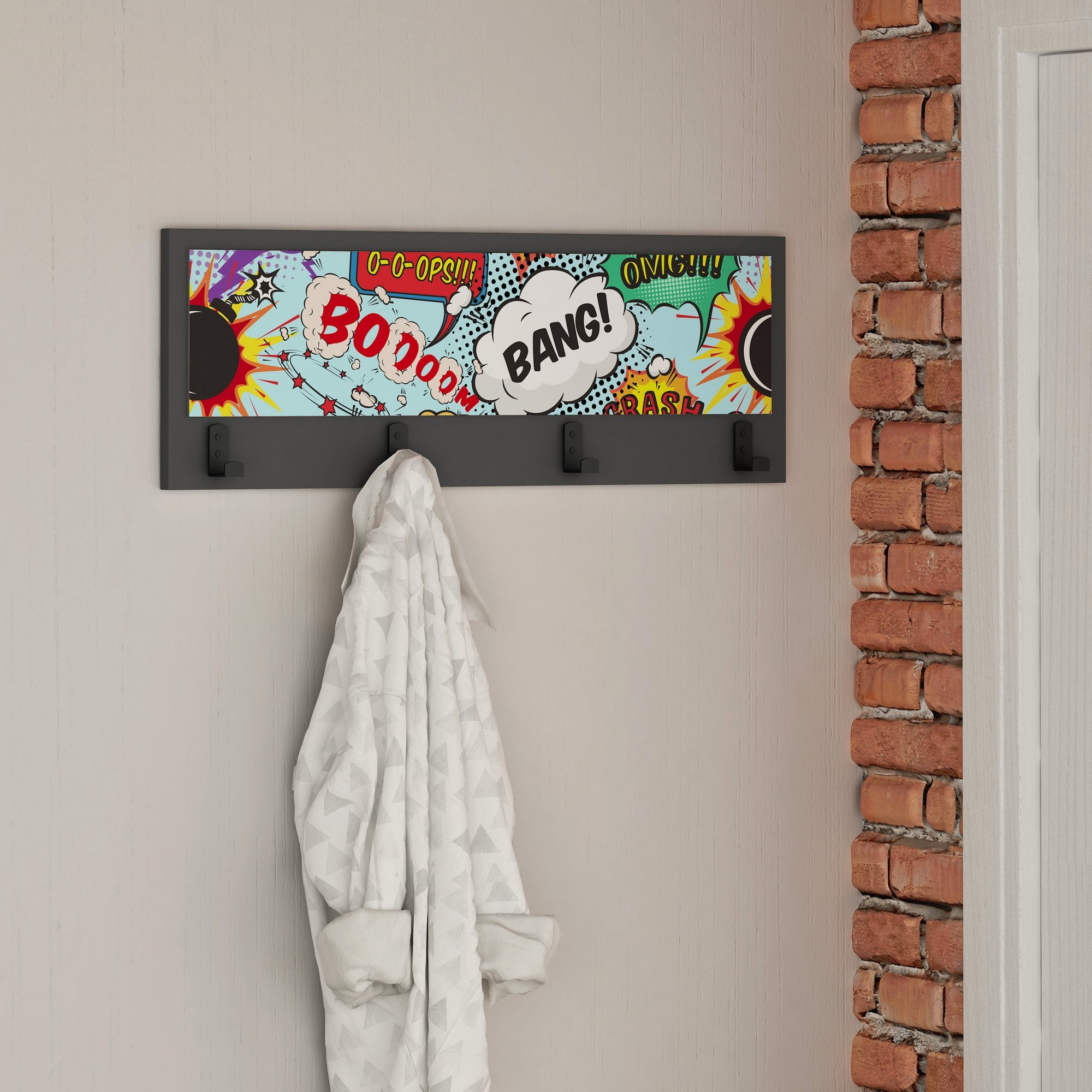 Decorative Wall Hook, 100% Melamine Coated Particle Board - Super Hero Beating Voices, Boooom Bang O-O-Ops - Size (9.8'' x 27.6'' x 1.6'') Wall Hanging Home Decor - Perfect for Home & Office, Foyers