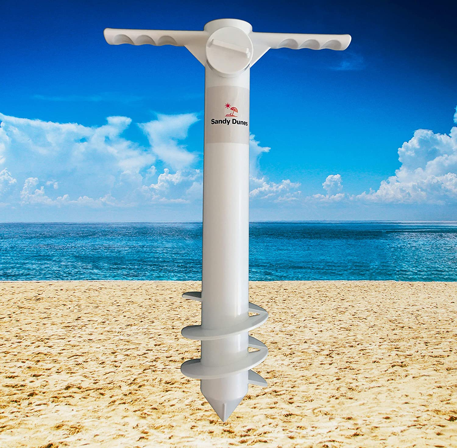 Sandy Dunes Beach Umbrella Sand Anchor One-Size-Fits-All Extra Strong, 3-Tier Screw To Withstand Tough Winds