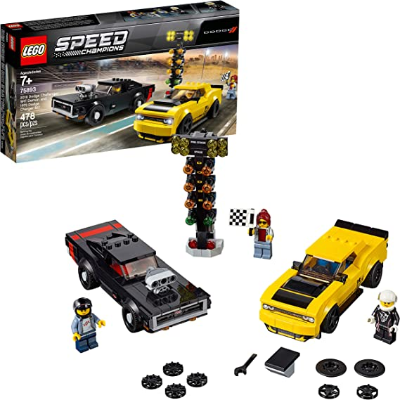 LEGO Speed Champions 2018 Dodge Challenger SRT Demon and 1970 Dodge Charger R/T 75893 Building Kit (478 Pieces)
