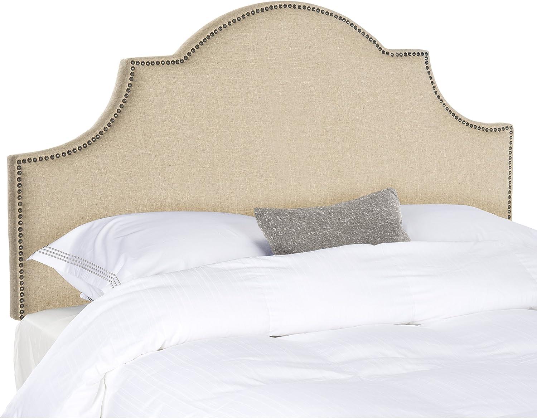 Safavieh Hallmar Hemp Linen Upholstered Arched Headboard – Brass Nailhead King