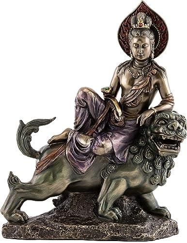 Top Collection Manjusri Statue – Bodhisattva of Transcendent Wisdom Sculpture in Premium Cold Cast Bronze with Colored Accents – 9.5-Inch Collectible Meditating Figurine