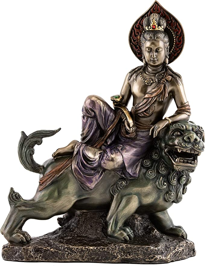 "MANJUSHRI STATUE 5.25/"" Buddhist Bodhisattva of Transcendent Wisdom Resin Buddha"