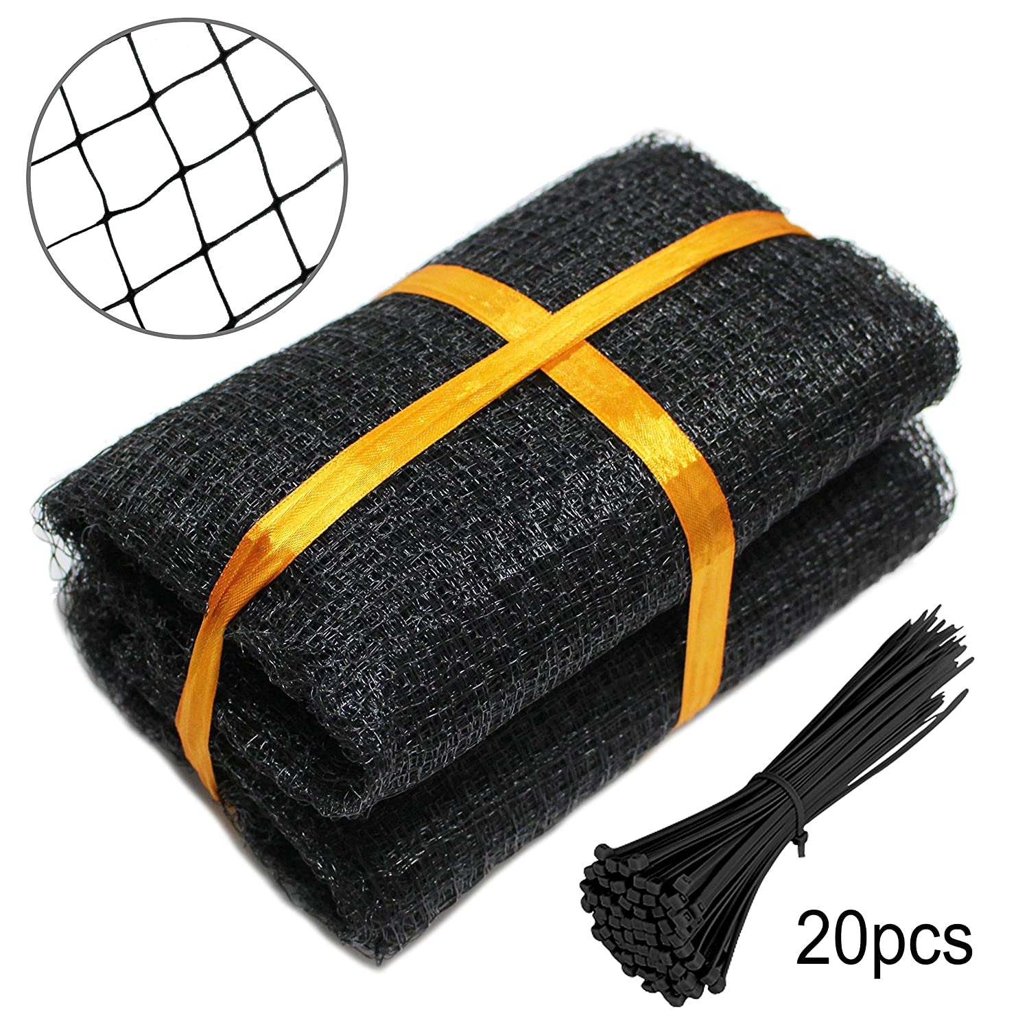 Gardzen 6.8ft x 30ft Heavy Duty Anti Bird Netting, Deer Fence, Pond Net with 20pcs Cable Ties - Protect Your Garden Vegetables Fruit Plants Ponds