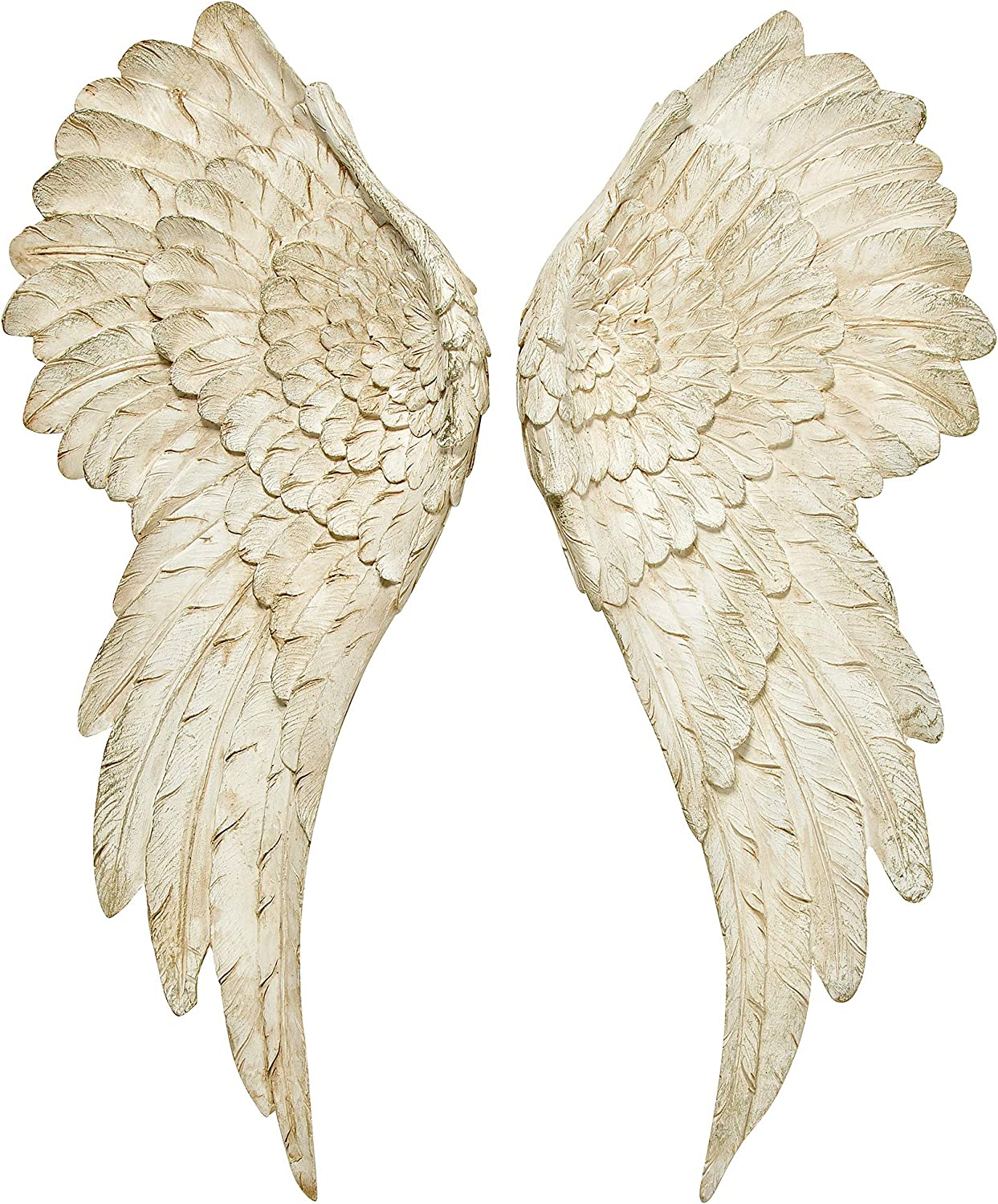 WHW Whole House Worlds Grand Tour Angel Wings, Vintage Style, Set of 2, Antique White, Artisinal Design, Hand Crafted, Bas Relief Sculptures, 21.75 Inches Tall