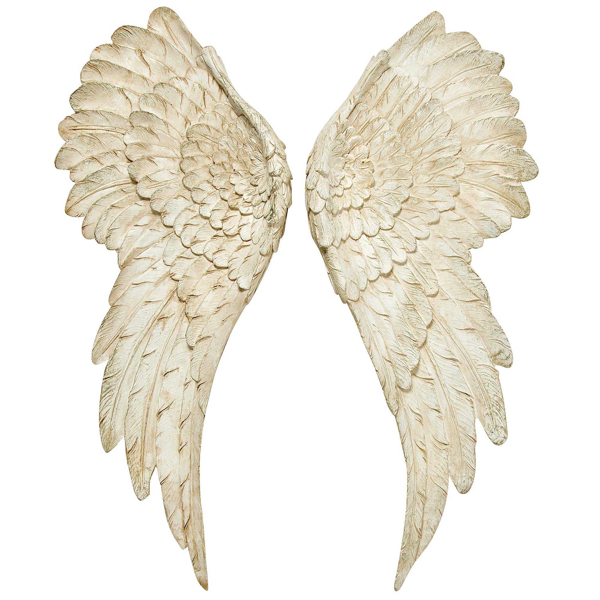 WHW Whole House Worlds Grand Tour Angel Wings, Vintage Style, Set of 2, Antique White, Artisinal Design, Hand Crafted, Bas Relief Sculptures, 21 3/4 Inches Tall