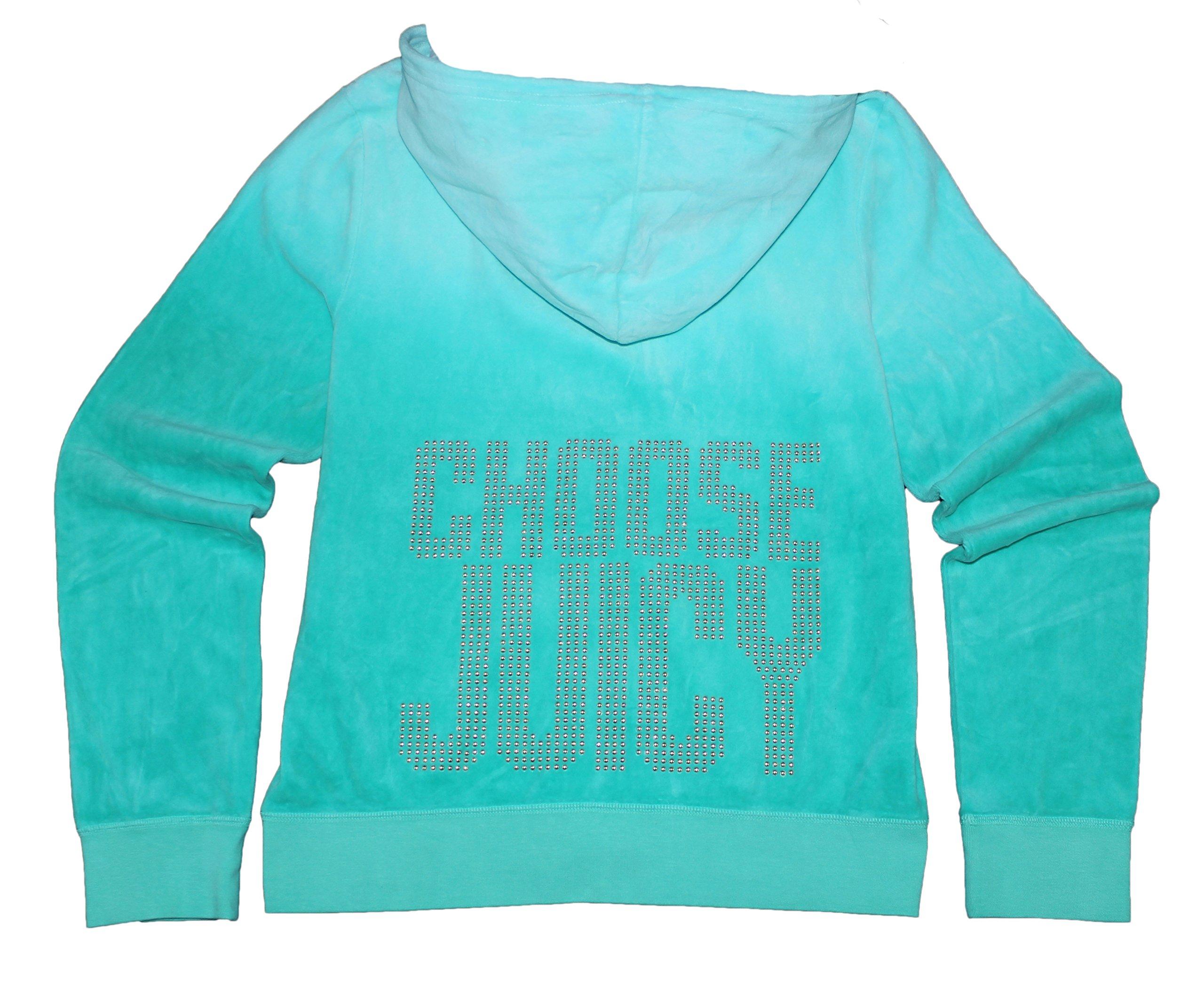 Juicy Couture Womens 'Choose Juicy' Studded Velour Hoodie (X Large, Bermuda sky)
