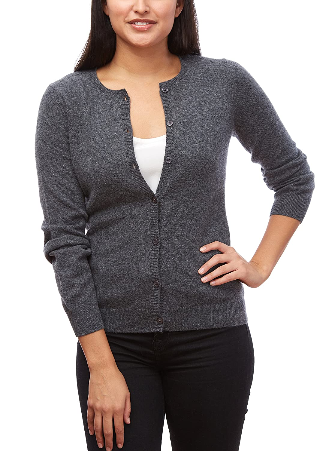 Elephant MoonCats 100% Cashmere Cardigan sweater for women soft button front crew neck