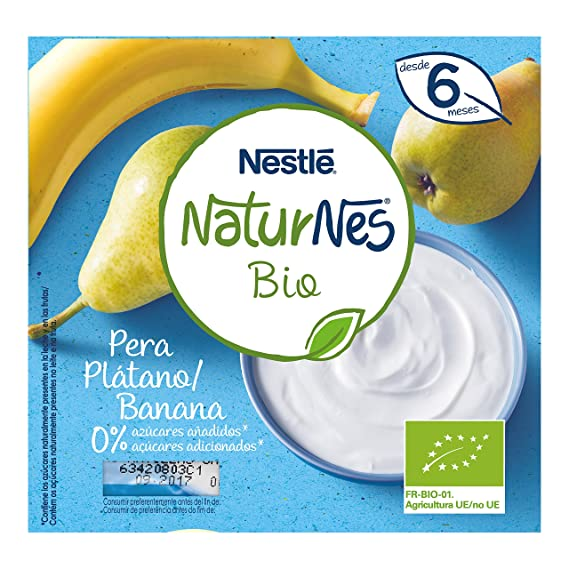 Nestlé Naturnes Bio - Postre lácteo Pera y Plátano - Postre lácteo Para bebés - Paquete