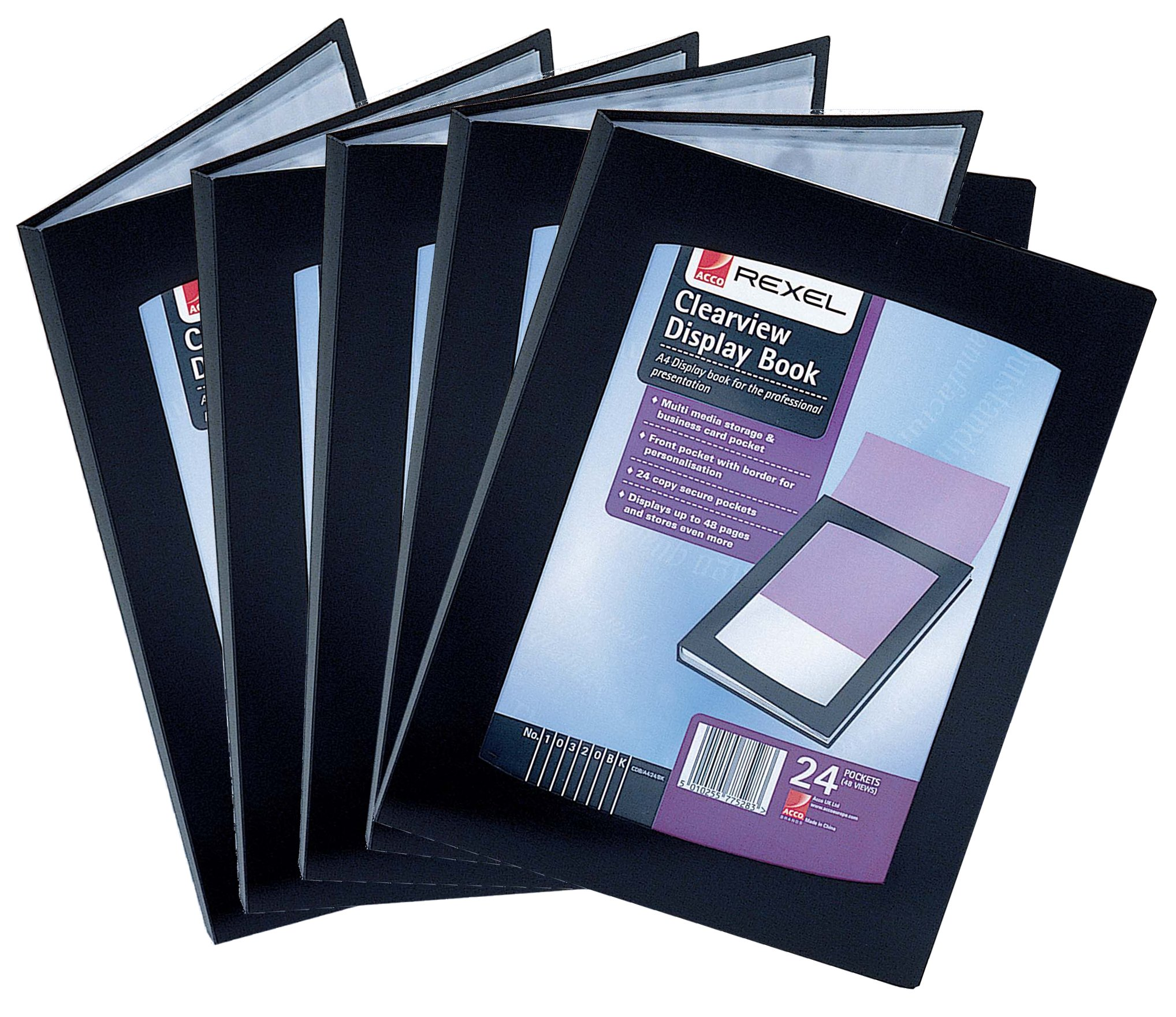 Rexel A4 24 Pocket Clearview Display Books - Black (Pack of 5) by OfficeMarket