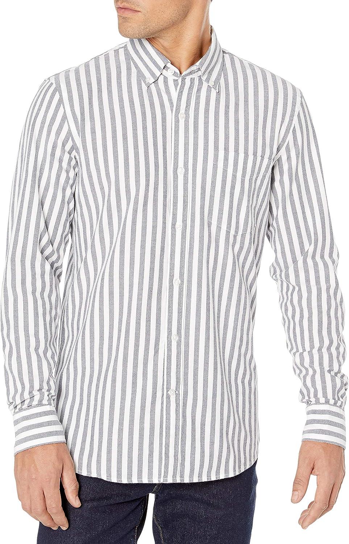 Brand - Goodthreads Men's Standard-Fit Long-Sleeve Fashion Stripe Oxford Shirt: Clothing