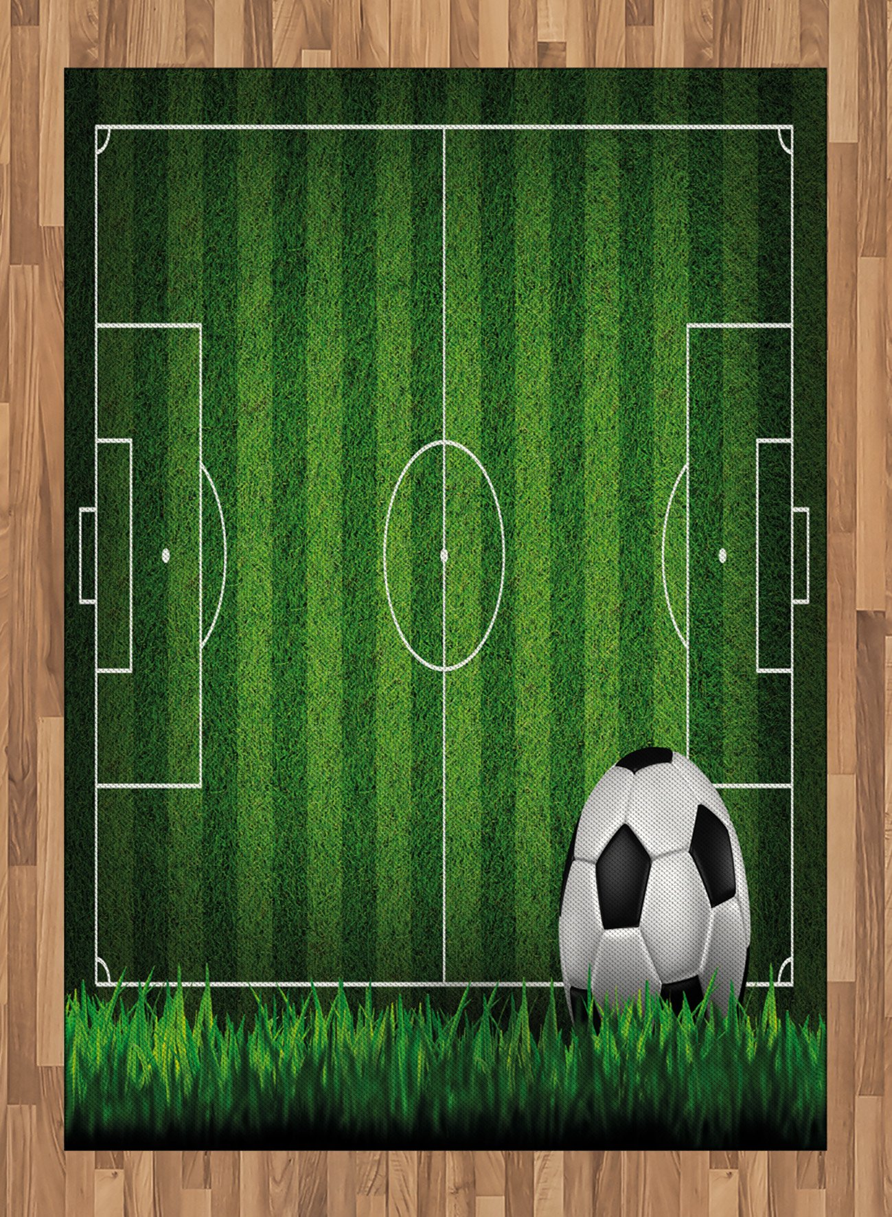 Boy's Room Area Rug by Lunarable, Green Grass Field Soccer Playground with the Ball Scheme Stripes Strategy, Flat Woven Accent Rug for Living Room Bedroom Dining Room, 5.2 x 7.5 FT, Green Black White