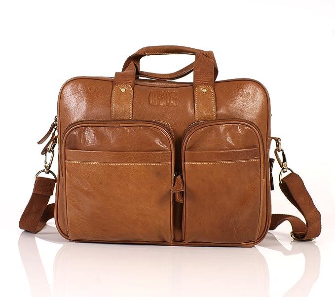 Italian Leather - Bolso bandolera de Piel unisex marrón canela
