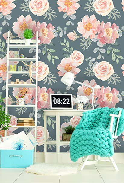 Removable Wallpaper Mural Peel Stick Nursery Vintage Gray And Pink Floral 25W