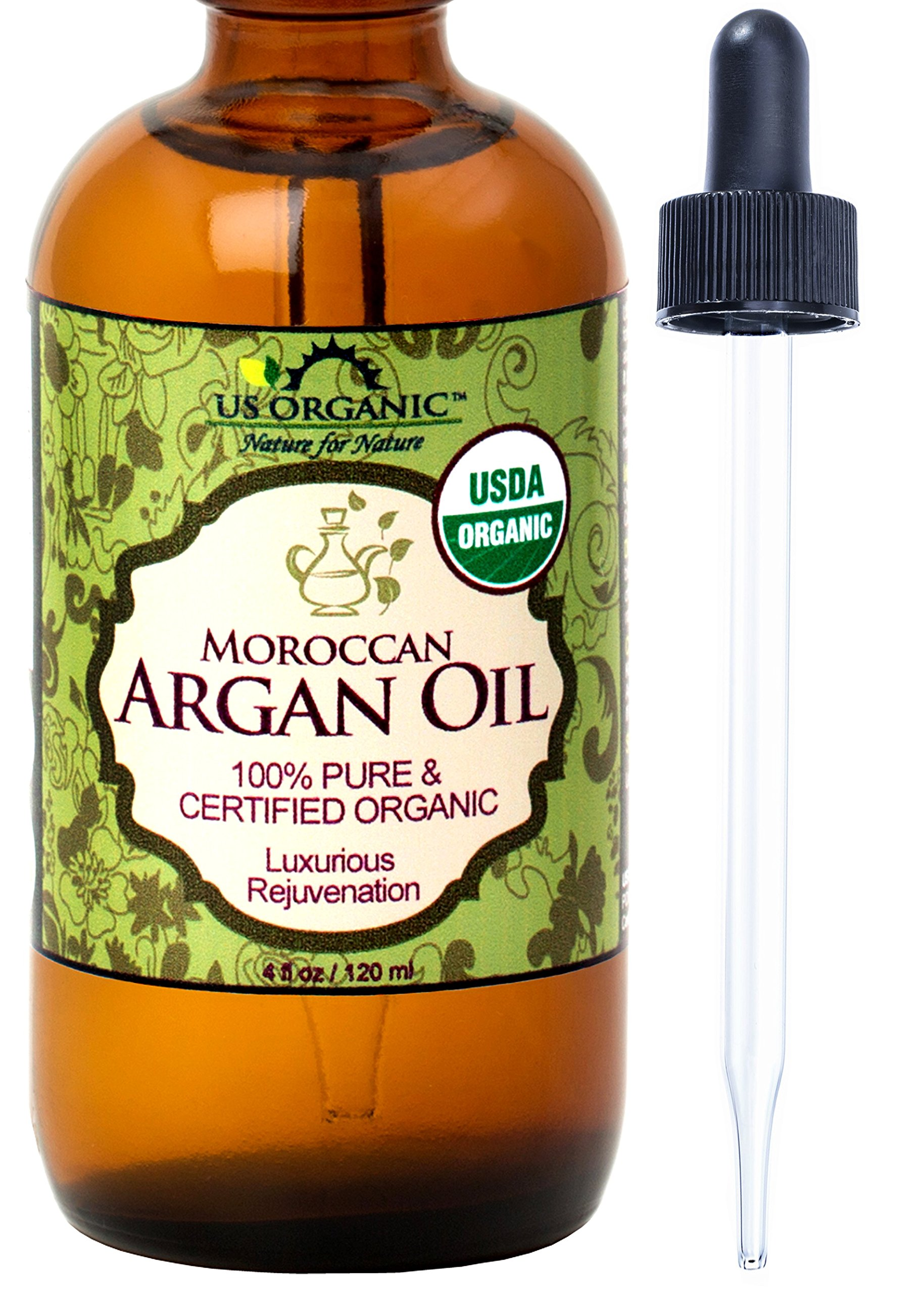 US Organic Moroccan Argan Oil, USDA Certified Organic,100% Pure & Natural, Cold Pressed Virgin, Unrefined, 4 Ounce in Amber Glass Bottle with Glass Eye Dropper for Easy Application