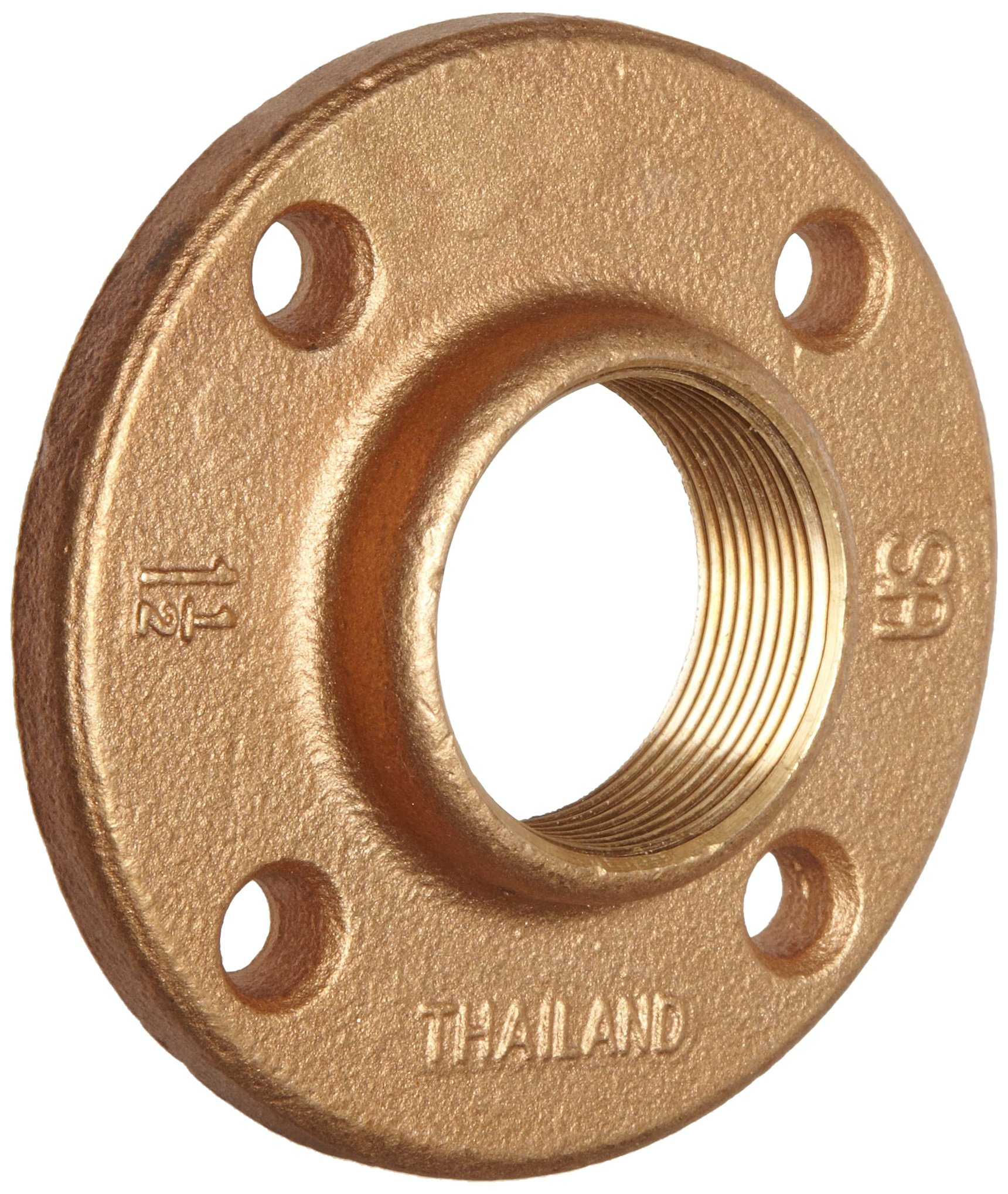 Merit Brass Brass Pipe Fitting, Class 125, Floor Flange, 1/2'' x 1/2'' National Pipe Taper Thread Female (Pack of 25)