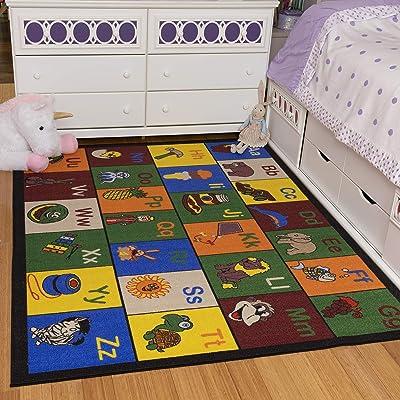 "Ottomanson Jenny Collection Children's Multi Color Educational Alphabet (Non-Slip) Kids Classroom Area Rugs, 8'2"" X 9'10"", Multicolor: Home & Kitchen"