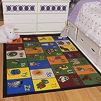 """Ottomanson Jenny Collection Children's Multi Color Educational Alphabet (Non-Slip) Kids Classroom Area Rugs, 3'3"""" X 5'0"""", Multicolor"""