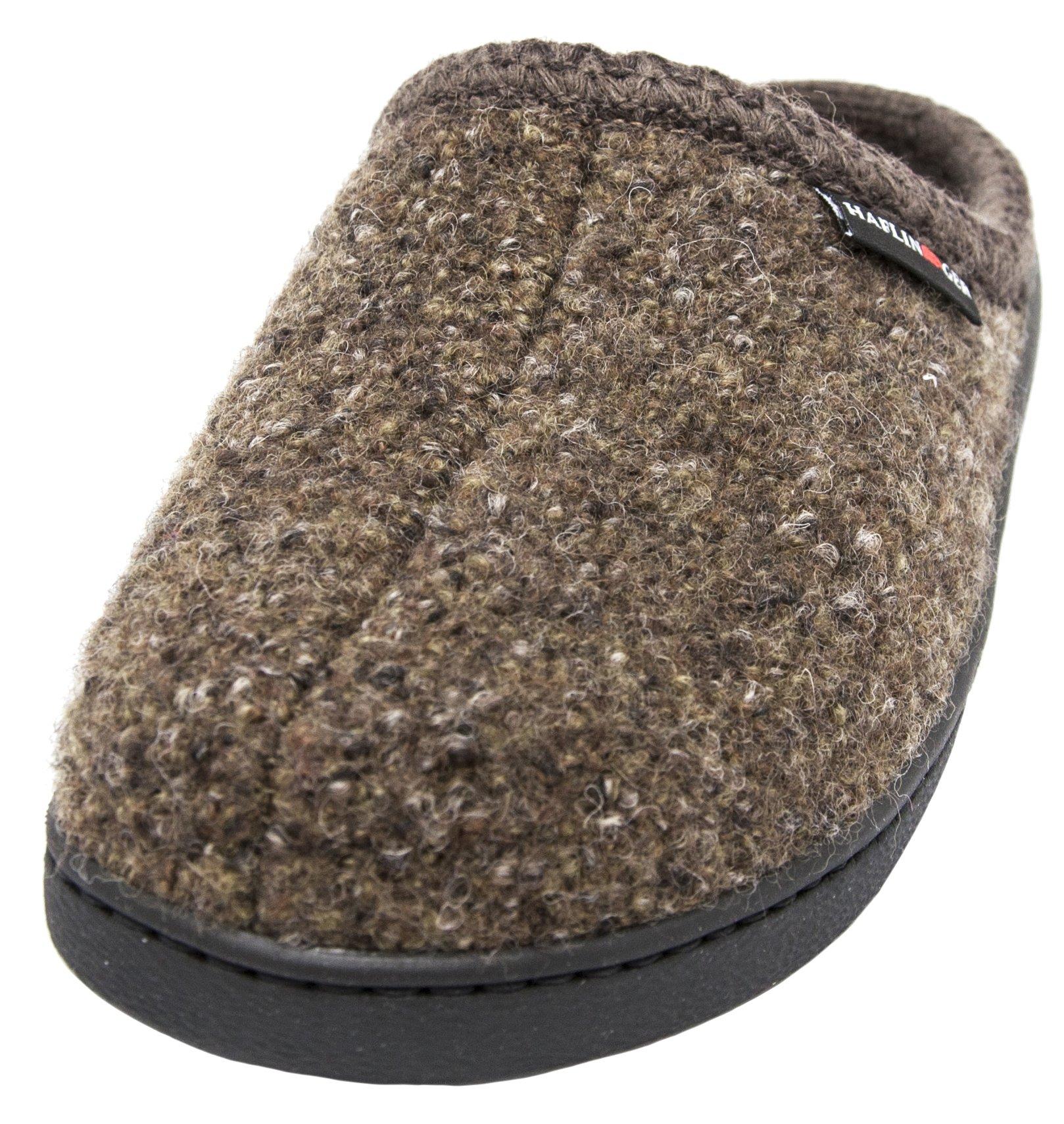 Haflinger Unisex AT Boiled Wool Hard Sole Slipper (42 M EU / 11 B(M) US, Khaki Speckle)