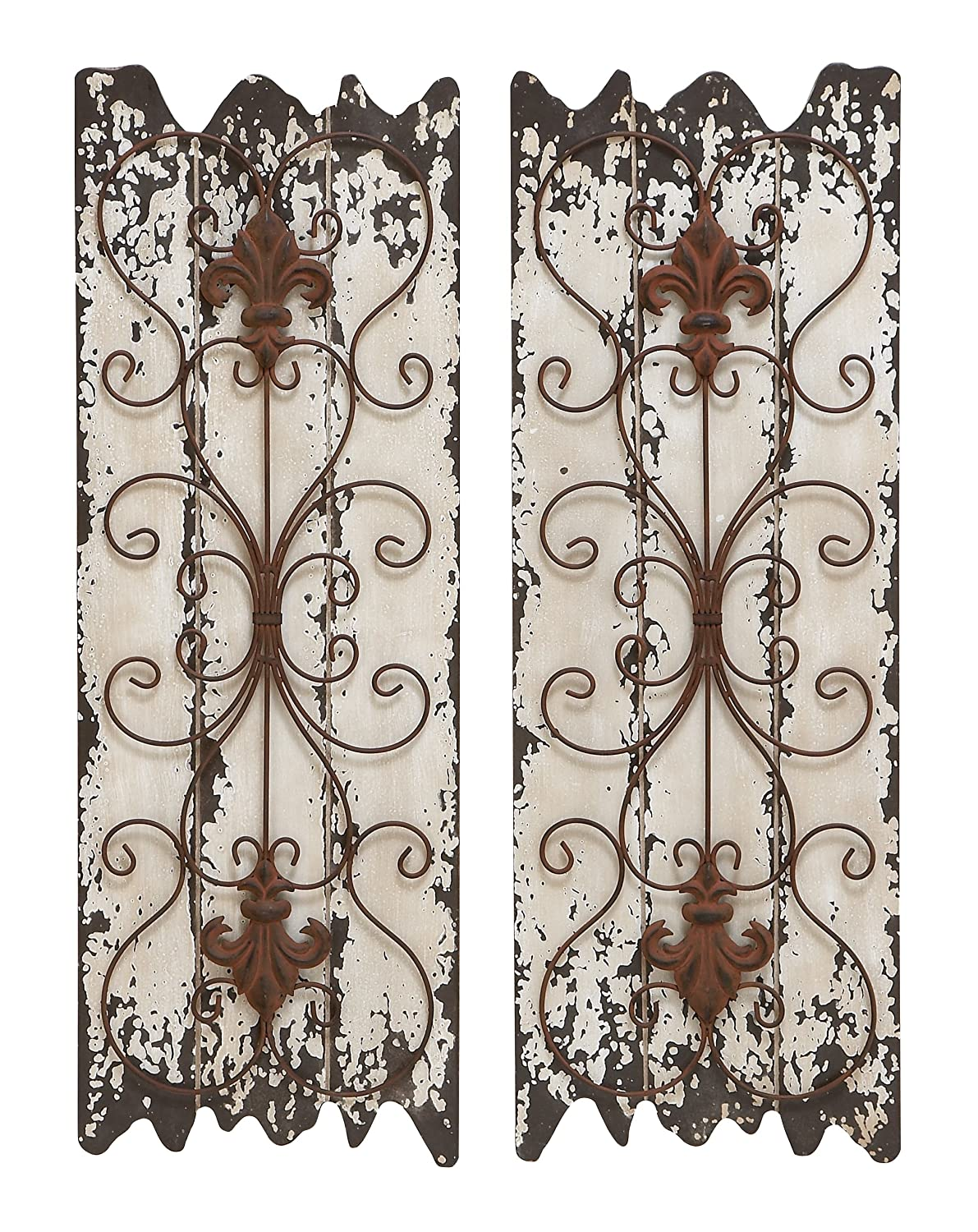 Wooden Wall Art Panels Part - 45: Amazon.com: Deco 79 Elegant Wall Sculpture Wood Metal Wall Decor,  32/11-Inch, Set Of 2: Home U0026 Kitchen