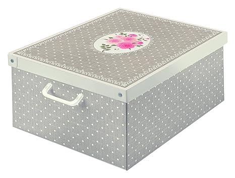LAVATELLI Collection Caja en Carton, Tòrtola/Blanco, 39 x 50 x 24 cm