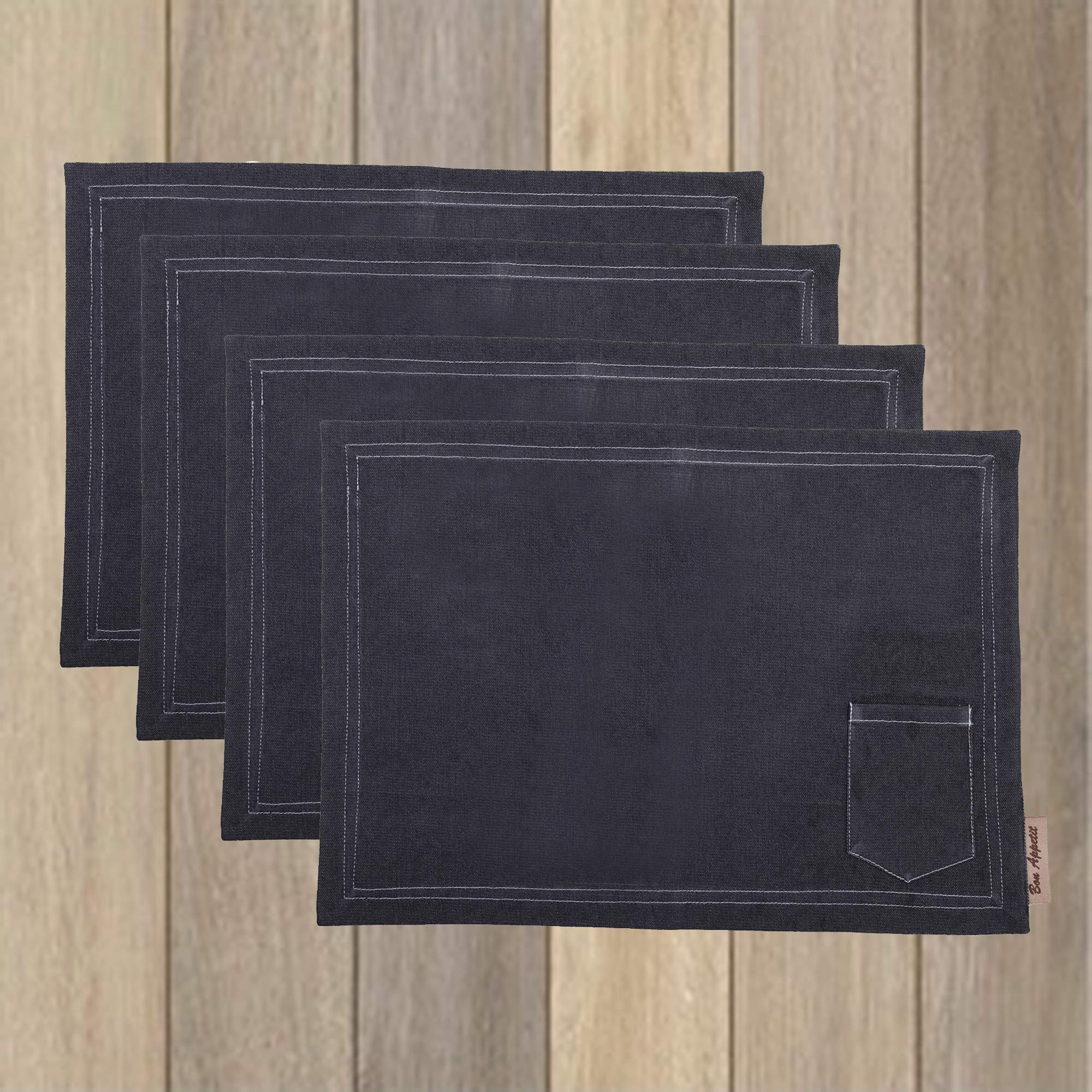 Denim Placemats, Set of 4, 13 X 19 Inch, With Utensil Pocket & Denim Stitch, For Dinner Parties, Summer, Outdoor Picnics & Everyday Use by Bon Appetit