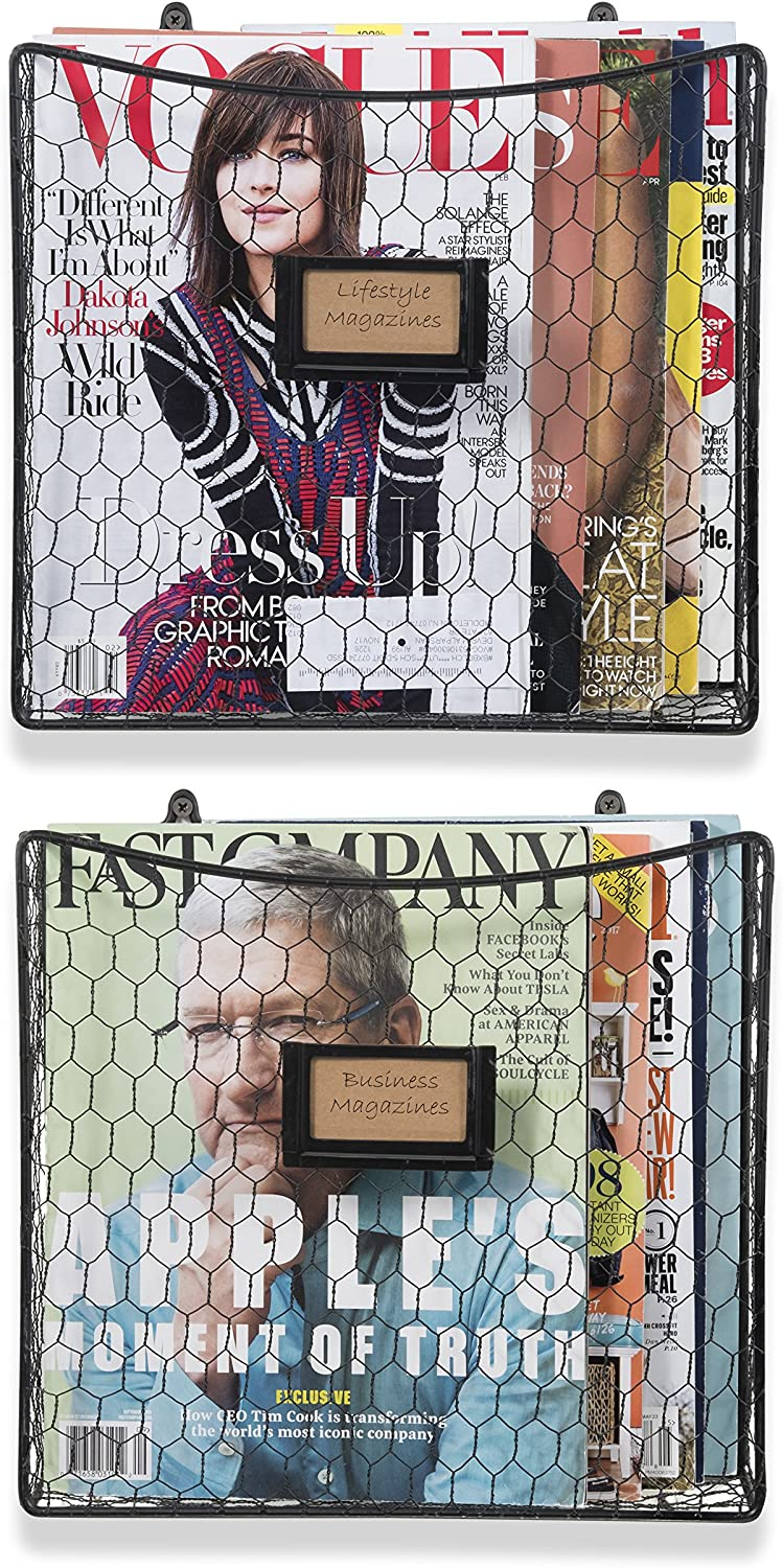 Wall35 Cestino Magazine Holder and File Organizer Wall Mount Metal Chicken Wire Baskets with Tag Slot, Black Set of 2