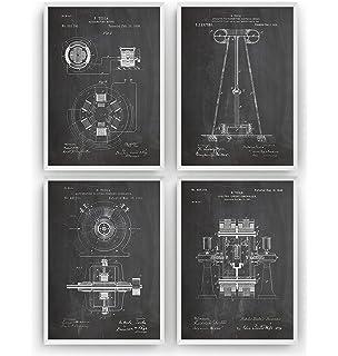 49d9042df5 Tesla Patent Prints - Set Of 4 - Engineering Gift Engineer Science Vintage  Blueprint Wall Poster