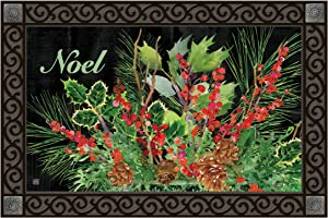 Studio M Holiday Door Fall/Winter MatMates Decorative Floor Mat Indoor or Outdoor Doormat with Eco-Friendly Recycled Rubber Backing, 18 x 30 Inches