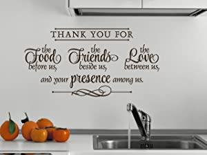 Wall Décor Plus More WDPM2281 Thank You for Food, Friends, Love, Presence Wall Vinyl Sticker Quote, 12x23-Inch, Chocolate Brown
