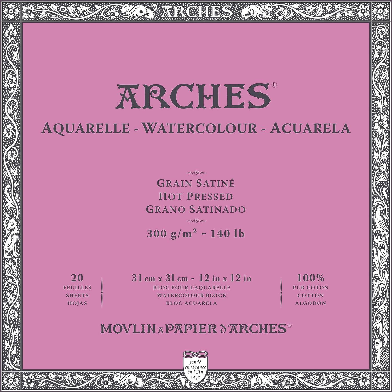 Arches Bloc Papier Aquarelle Grain Satiné 300G 31X31 Cm 20 Feuilles 1711605