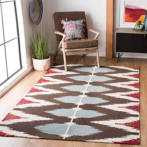 Safavieh Dhurries Collection DHU647A Hand Woven Multicolored Premium Wool Area Rug 5 x 8