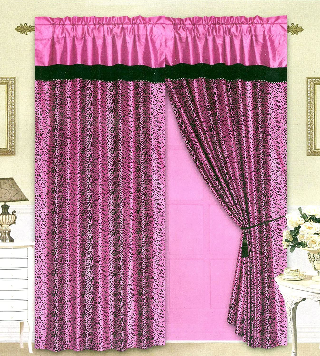 Pink cheetah print curtains - Amazon Com Black Pink Flocking Leopard Satin Window Curtain Drape Set Sheer Liner Valance Home Kitchen