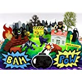 Ben 10 Birthday Cake Topper Set Featuring Ben Tennyson & Random Friends Figures and Decorative Themed Accessories