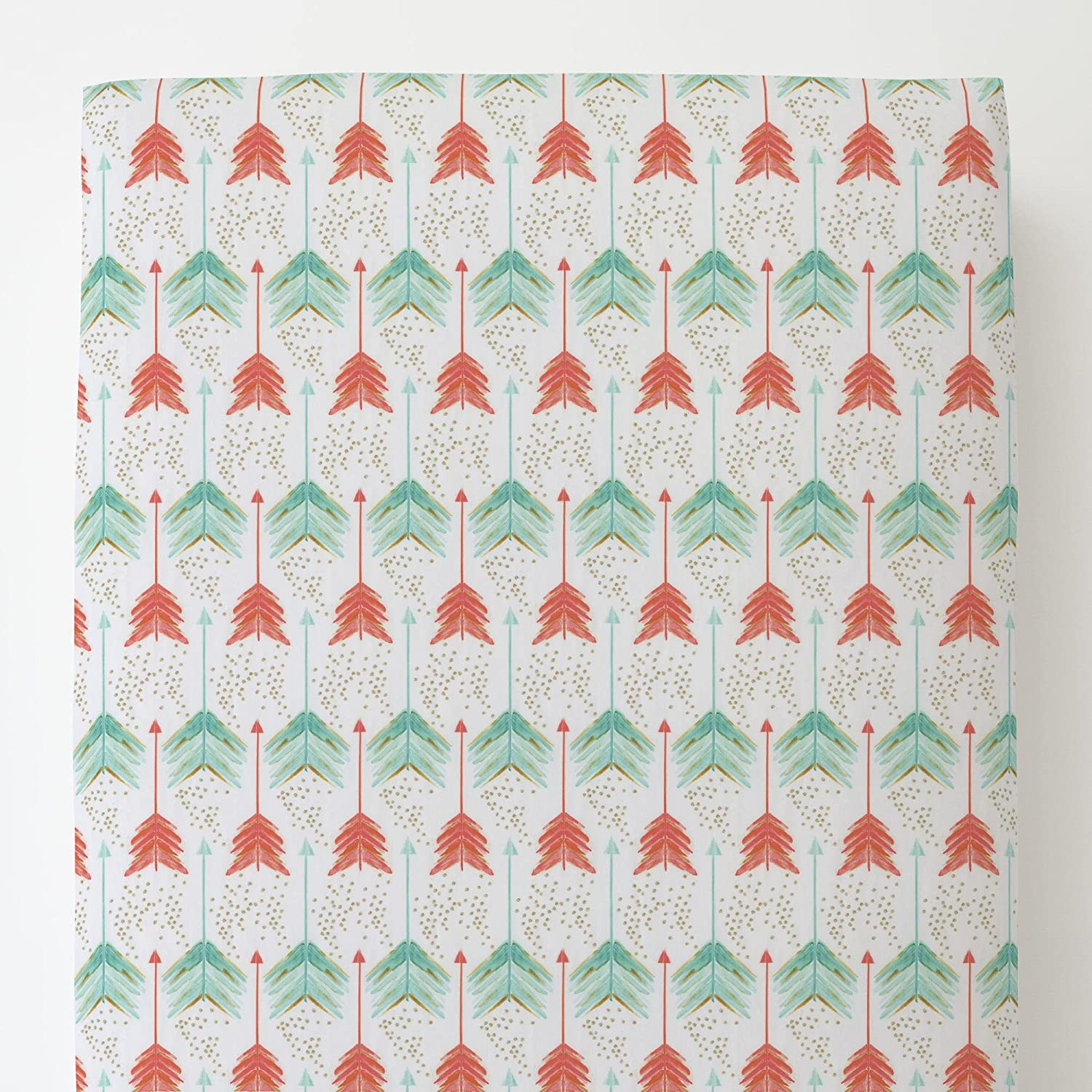 Carousel Designs Coral and Teal Arrows Toddler Bed Sheet Fitted