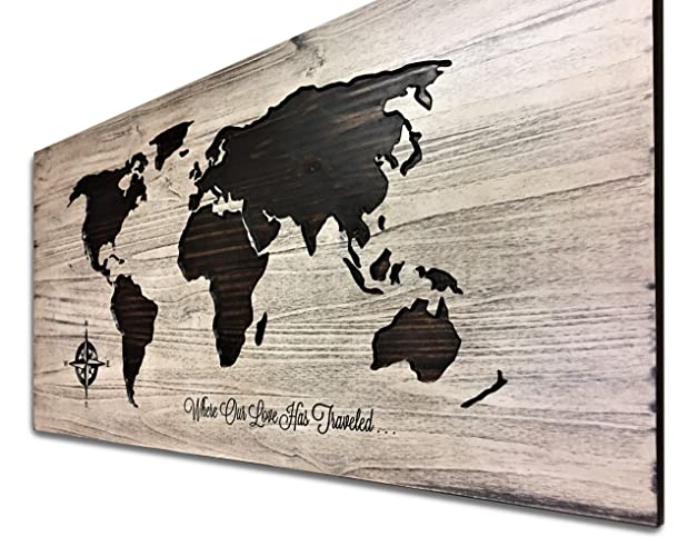 Amazon.com: Push Pin Map, World Map Art, Wooden Map, Map of World ...