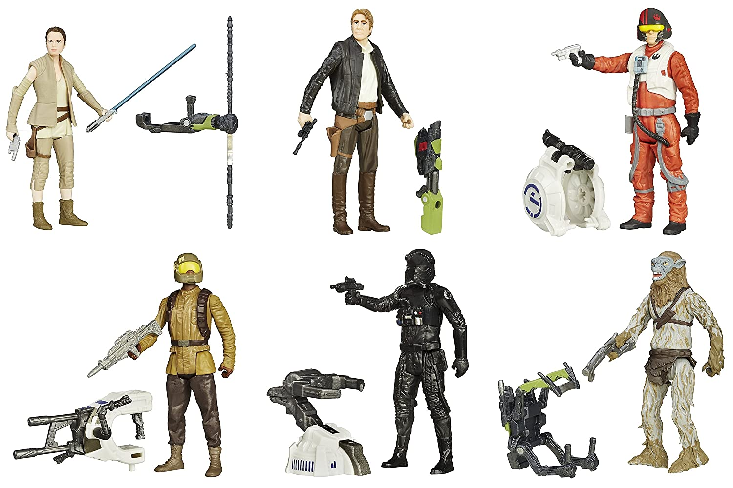 Poe Dameron Resistance Trooper Star Wars Force Awakens 3.75-Inch 6 Figure Pack with Rey Resistance Outifit Han Solo TIE Fighter Pilot /& Hassk Thug Hasbro