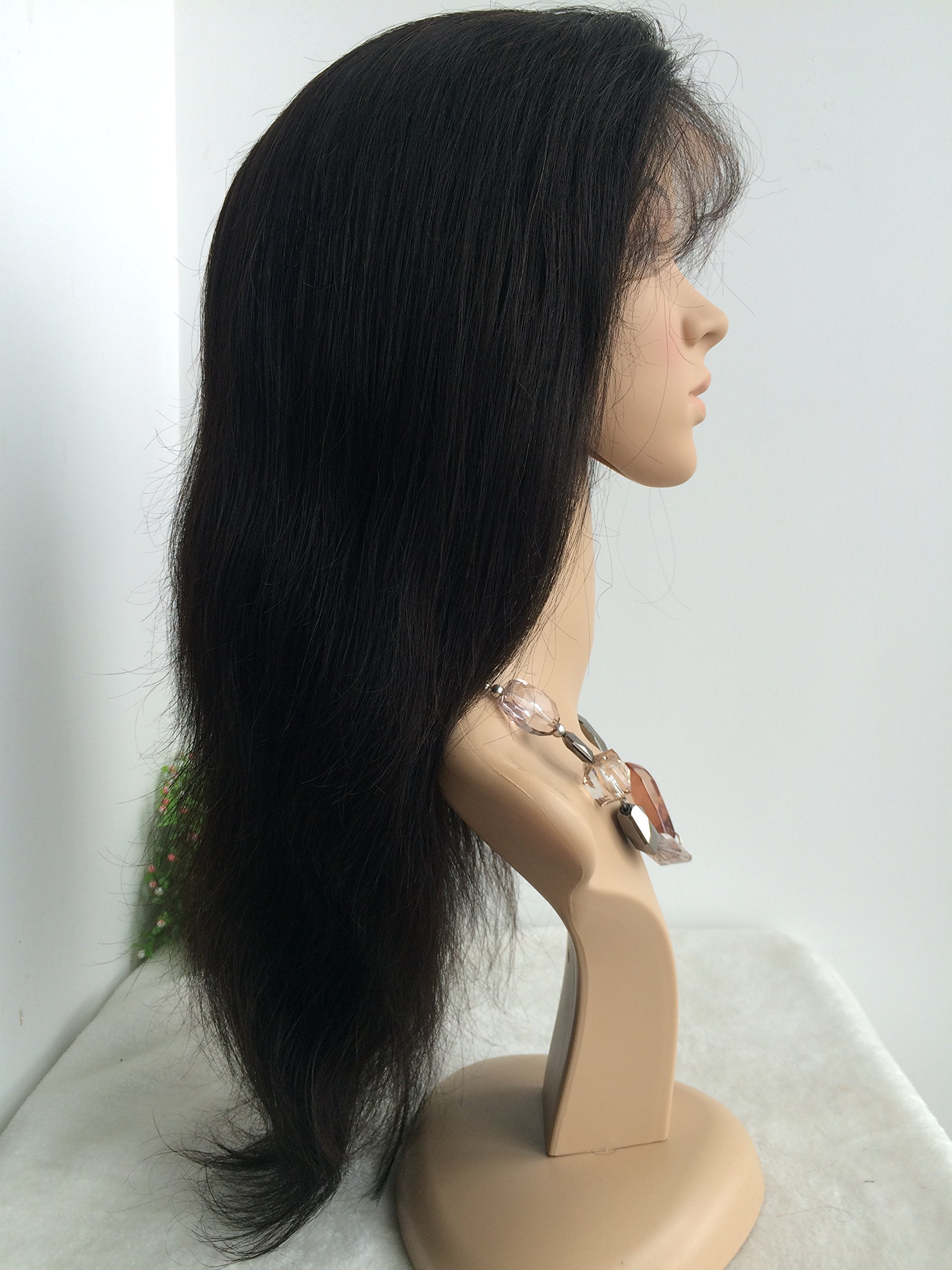 16 INCH,NATURAL COLOR,CHINESE VIRGIN SILK STRAIGHT FULL LACE SILK TOP WIG by April silk top wigs (Image #3)