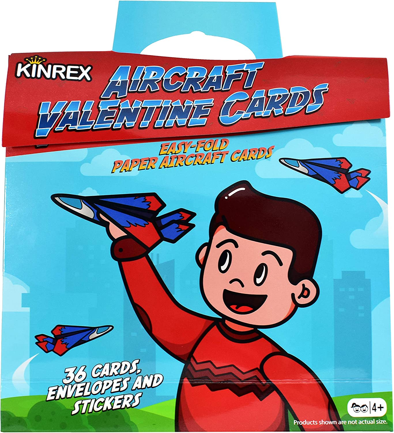 KINREX Valentines Day Cards for Kids 36 Count - Valentine's Paper Airplane Cards for Kids Classroom Teachers Exchange Party Favors Crafts Toy Gifts