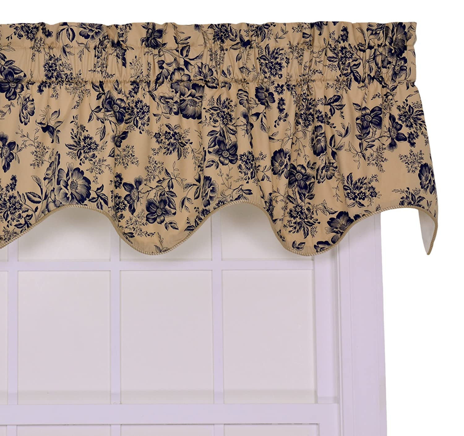 Ellis Curtain Palmer Floral Toile Lined Duchess Valance Window Curtain, Navy
