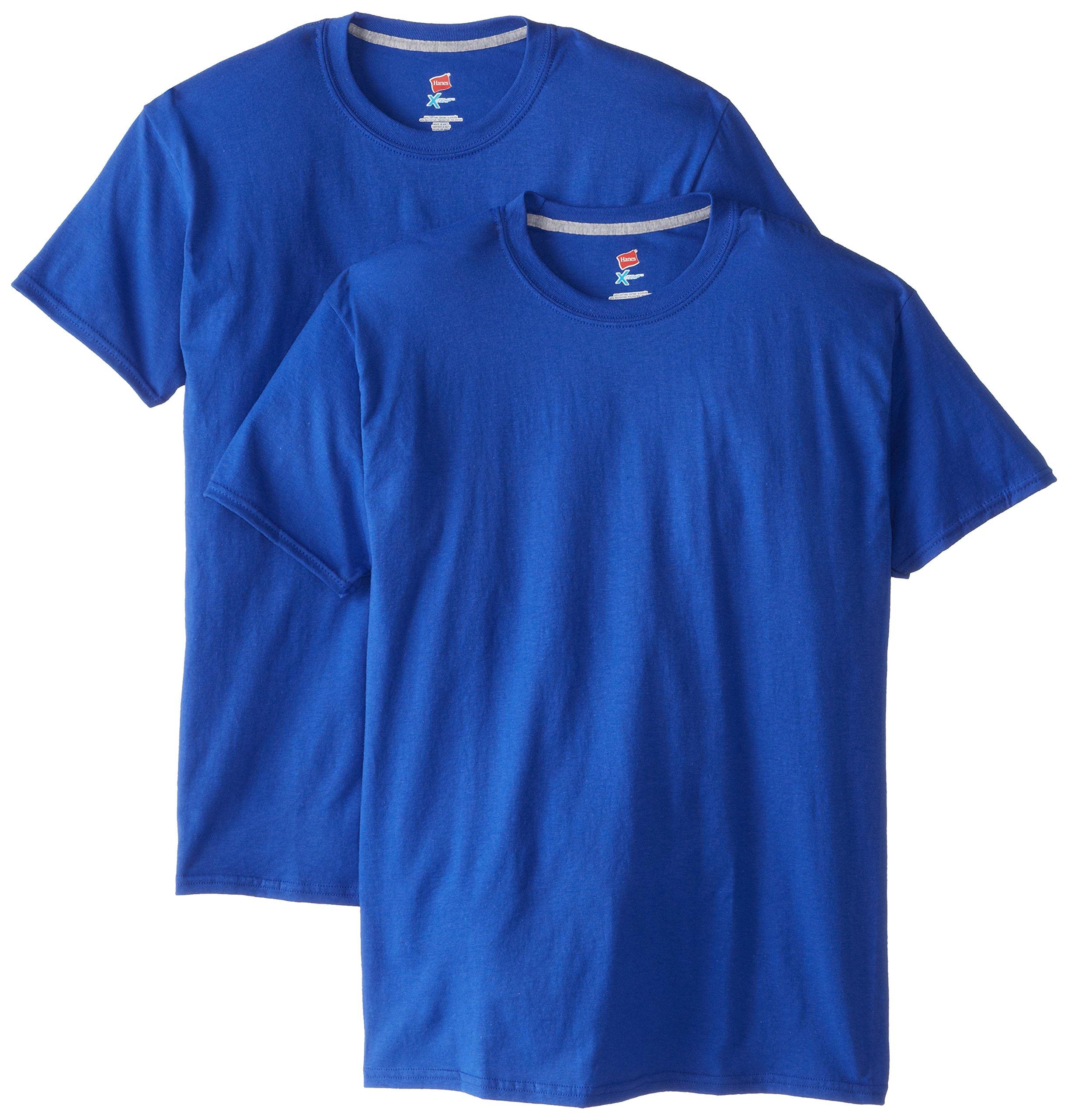 Hanes Men's 2 Pack X-Temp Performance T-Shirt, Deep Royal, Large